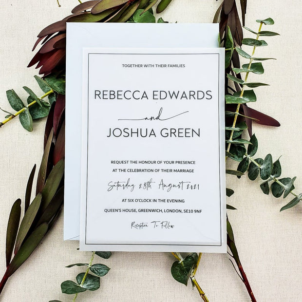 Luxury Modern Vellum Wedding Invitation