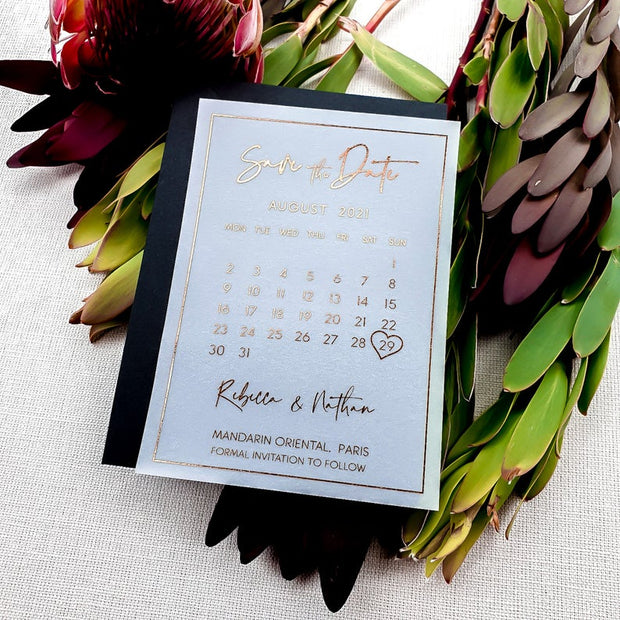 Vellum Rose Gold Foil Portrait Save the Dates