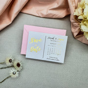 Beautiful Modern Rose Gold Foil Save the Dates