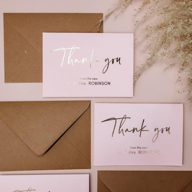 Blush Pink Personalised Mr & Mrs Thank You Cards