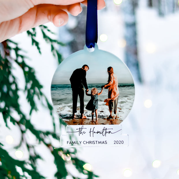 Personalized Family Name Photo Ornament
