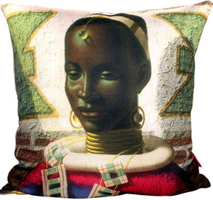 Woman of Ndebele- Velvet 50x50cm