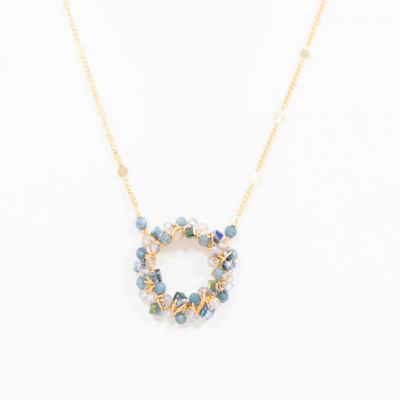 Small Circle Cluster Wrapped Necklace - Blue