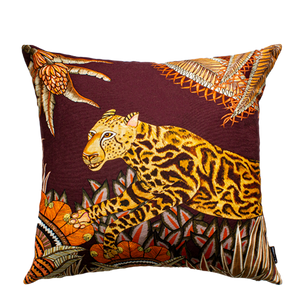 Cheetah King Forest Plum Cotton 50 x 50