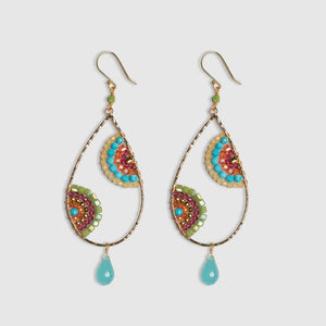DOUBLE CRESCENTASSORTED GEM HOOPS W/TURQOUISE DROPS