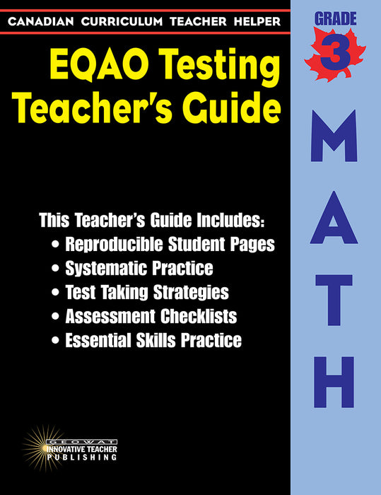 Canadian Curriculum Teacher Helper EQAO Testing Teacher's Guide Grade 3 Math
