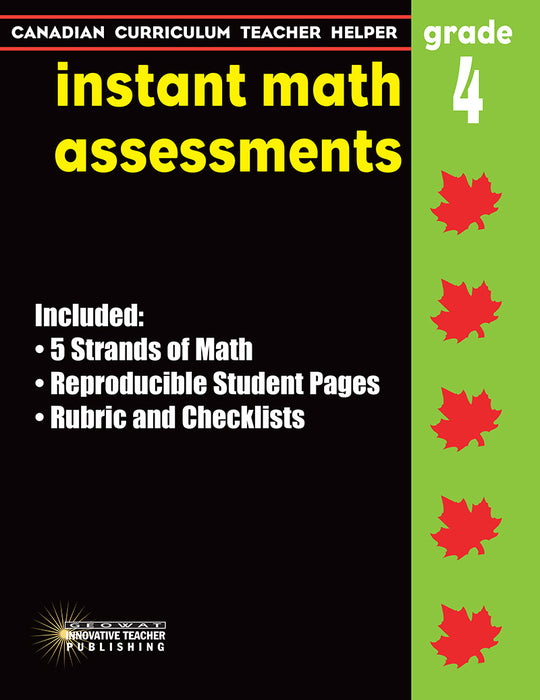 Canadian Curriculum Teacher Helper - Grade 4 - Instant Math Assessments