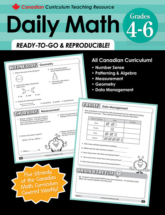 Canadian Curriculum Teaching Resource - Daily Math Grades 4-6