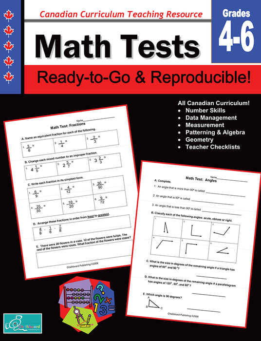 Canadian Curriculum Teaching Resource - Math Tests Grades 4-6