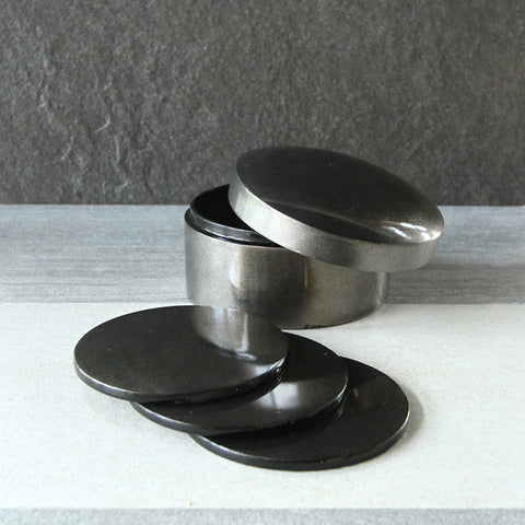 Gun Metal Silver Coaster Set