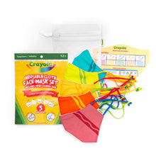 Load image into Gallery viewer, Crayola™ Adult Reusable Cloth Face Mask Set - Tip™ Faces