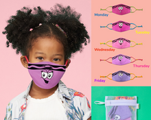 Load image into Gallery viewer, Crayola™ Kids Reusable Cloth Face Mask Set, Pink and Purple™ Faces