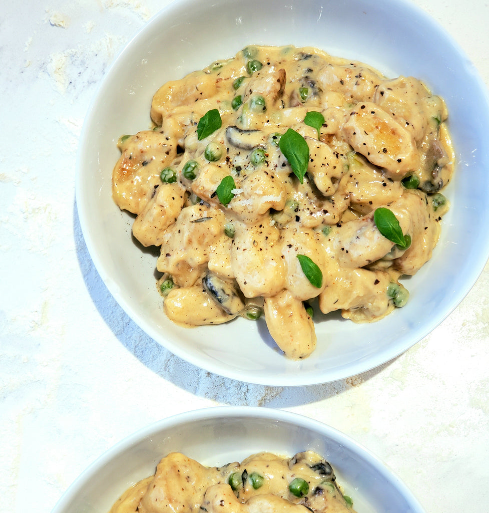 Creamy Gnocchi with Mushrooms and Peas