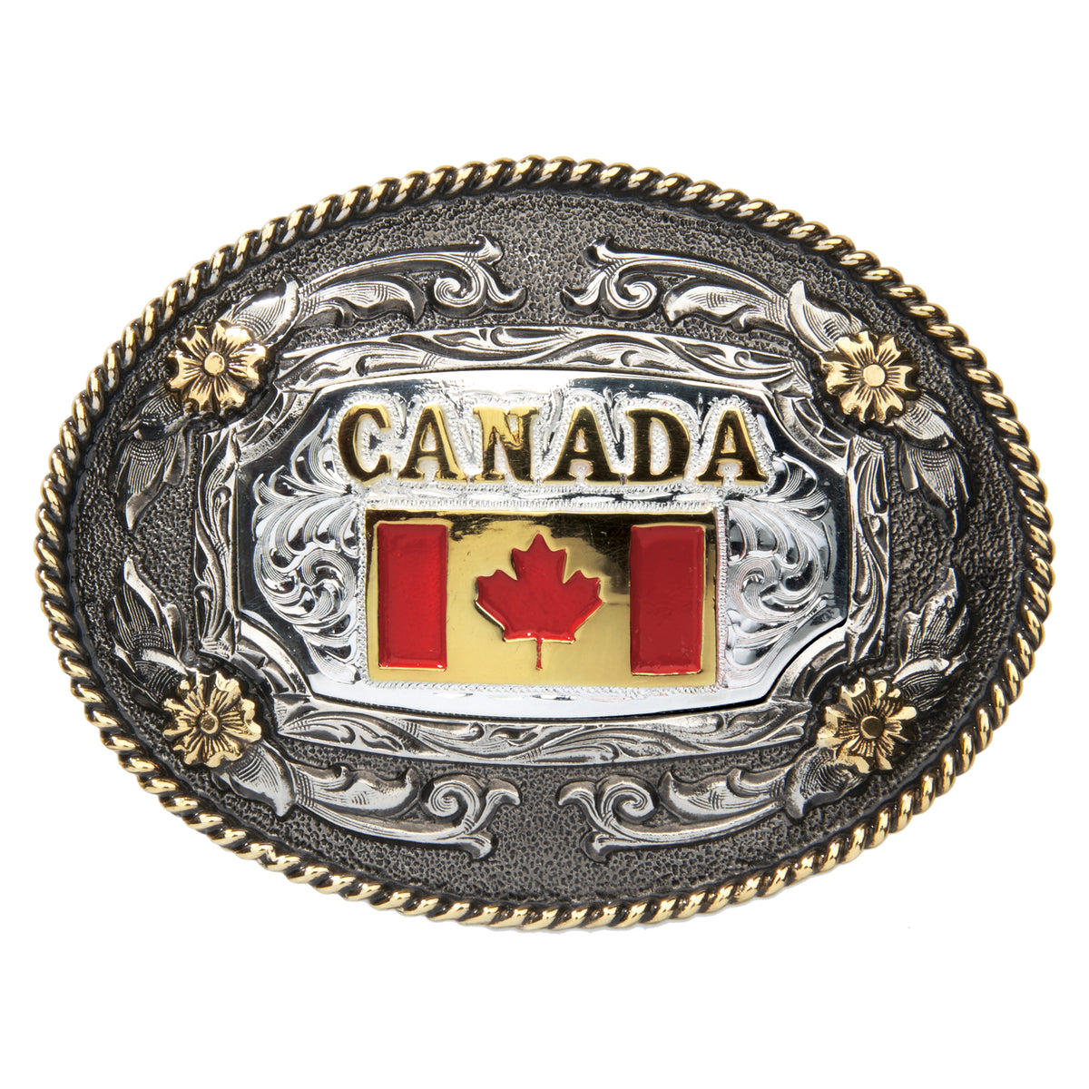 Canadian Flag — Oval Rope Edge Buckle