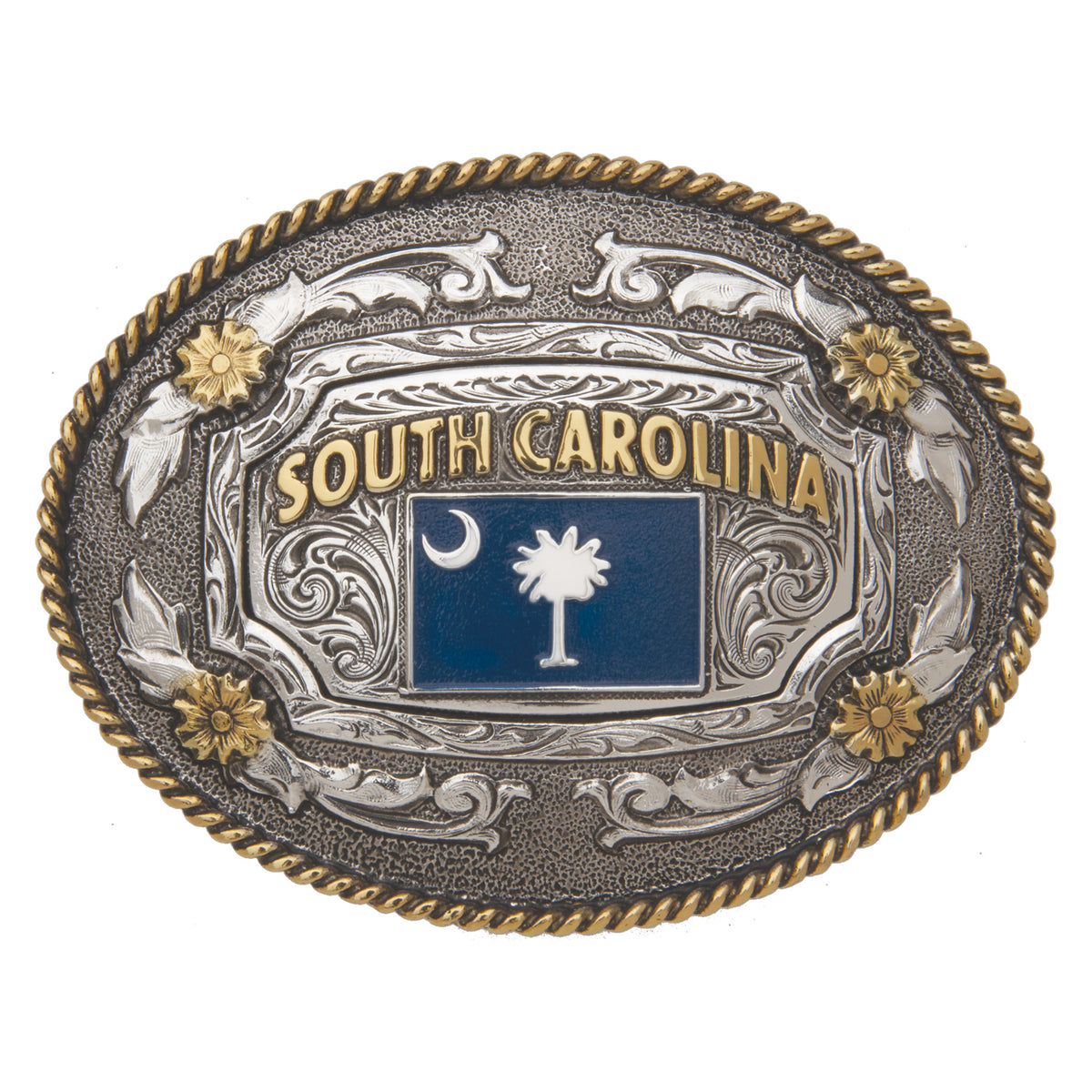 South Carolina Flag— Oval Rope Edge Buckle