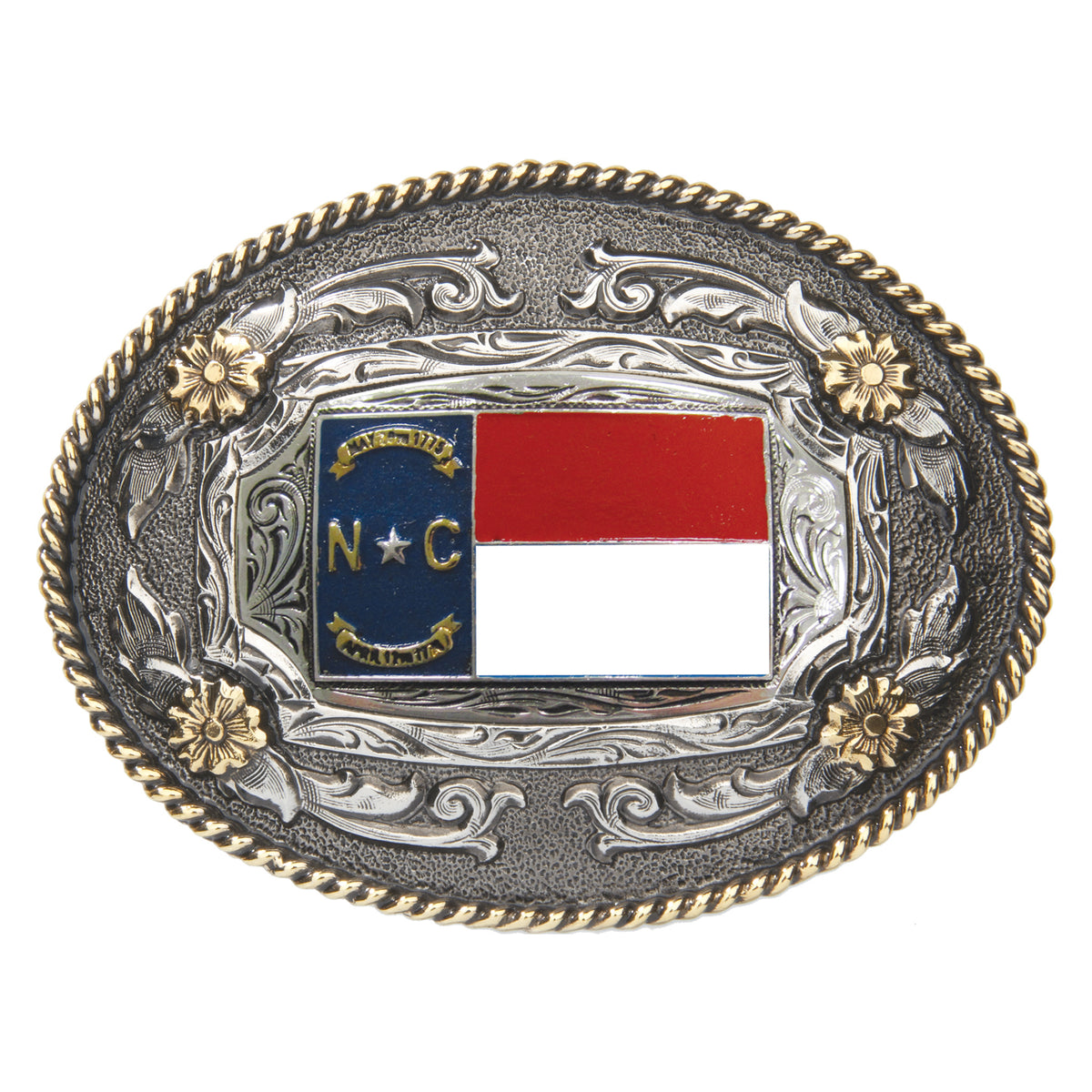 North Carolina Flag — Oval Rope Edge Buckle