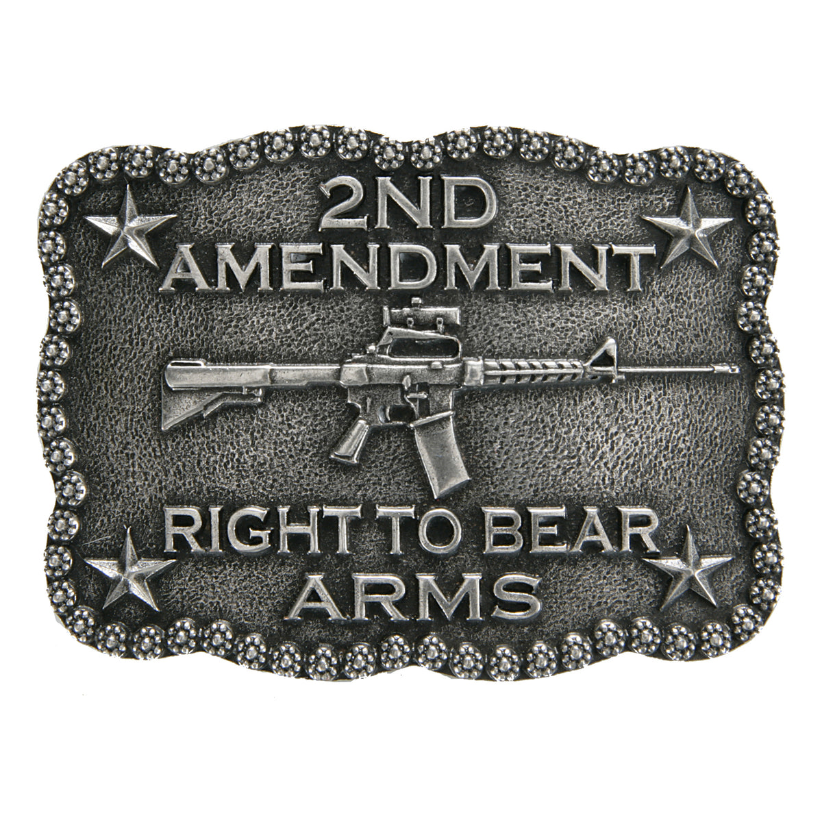Scalloped 2nd Amendment Right to Bear Arms Buckle