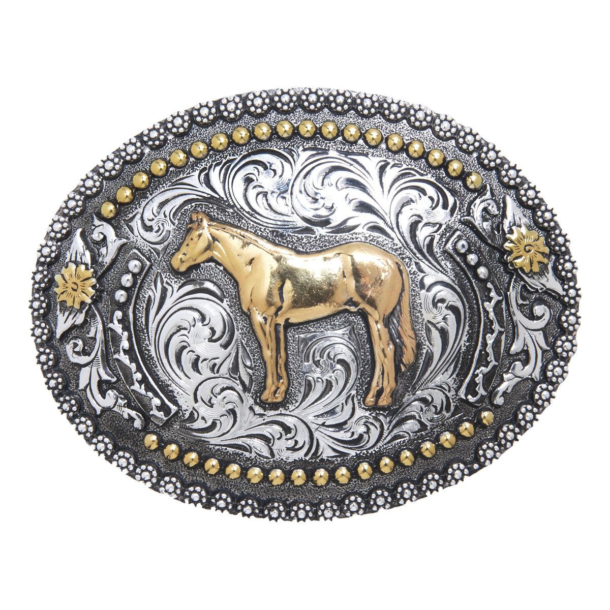 Standing Horse Oval with Fancy Berry Edge Buckle