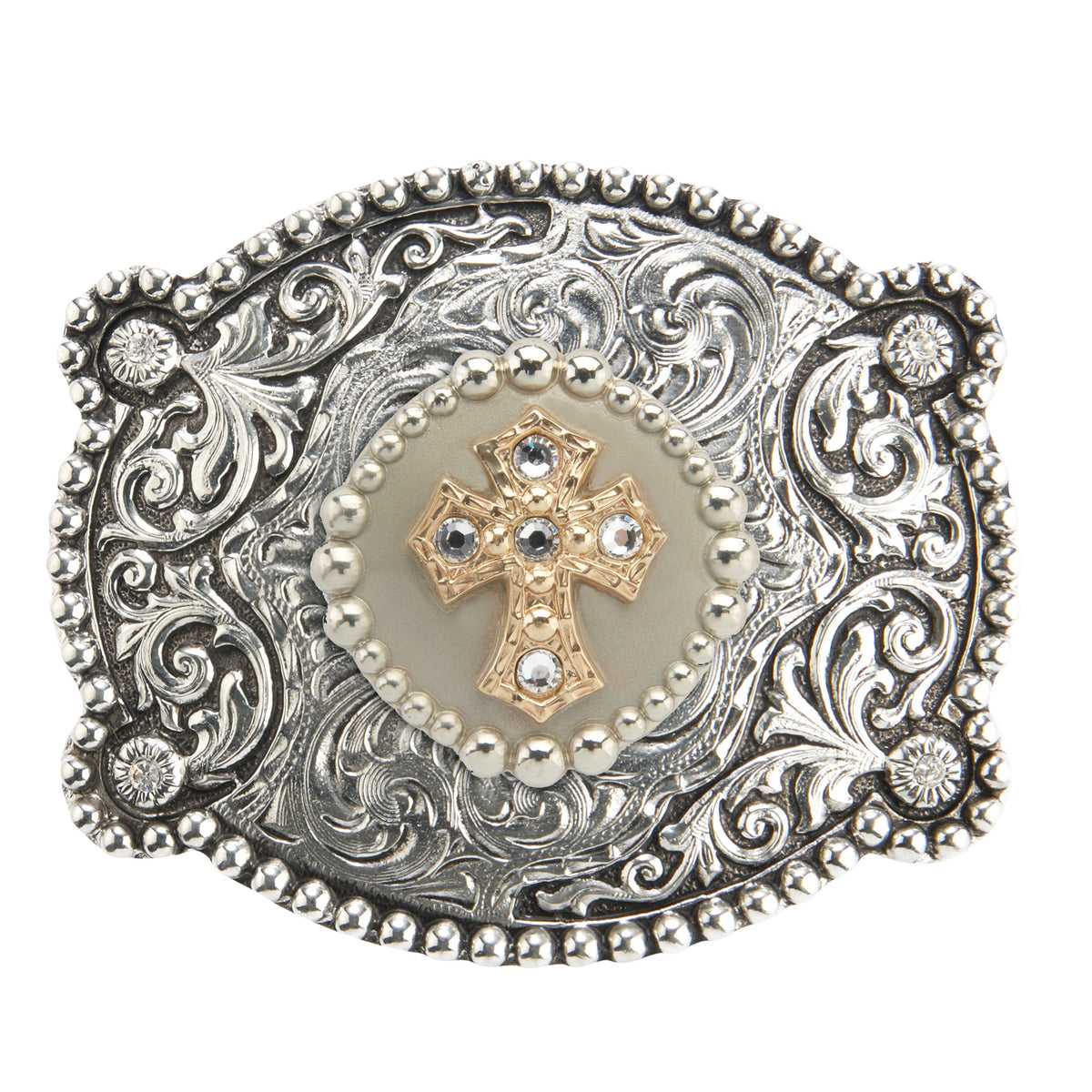 Scalloped Motif Buckle with Cross Medallion