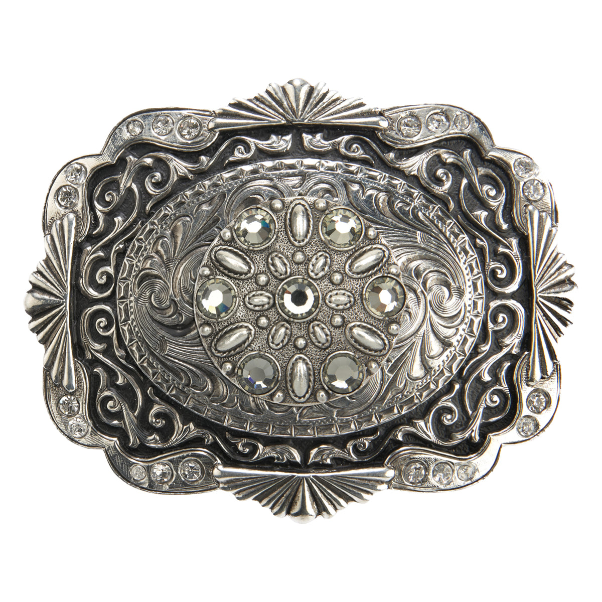 Scalloped Buckle with Black Rhinestone Motif