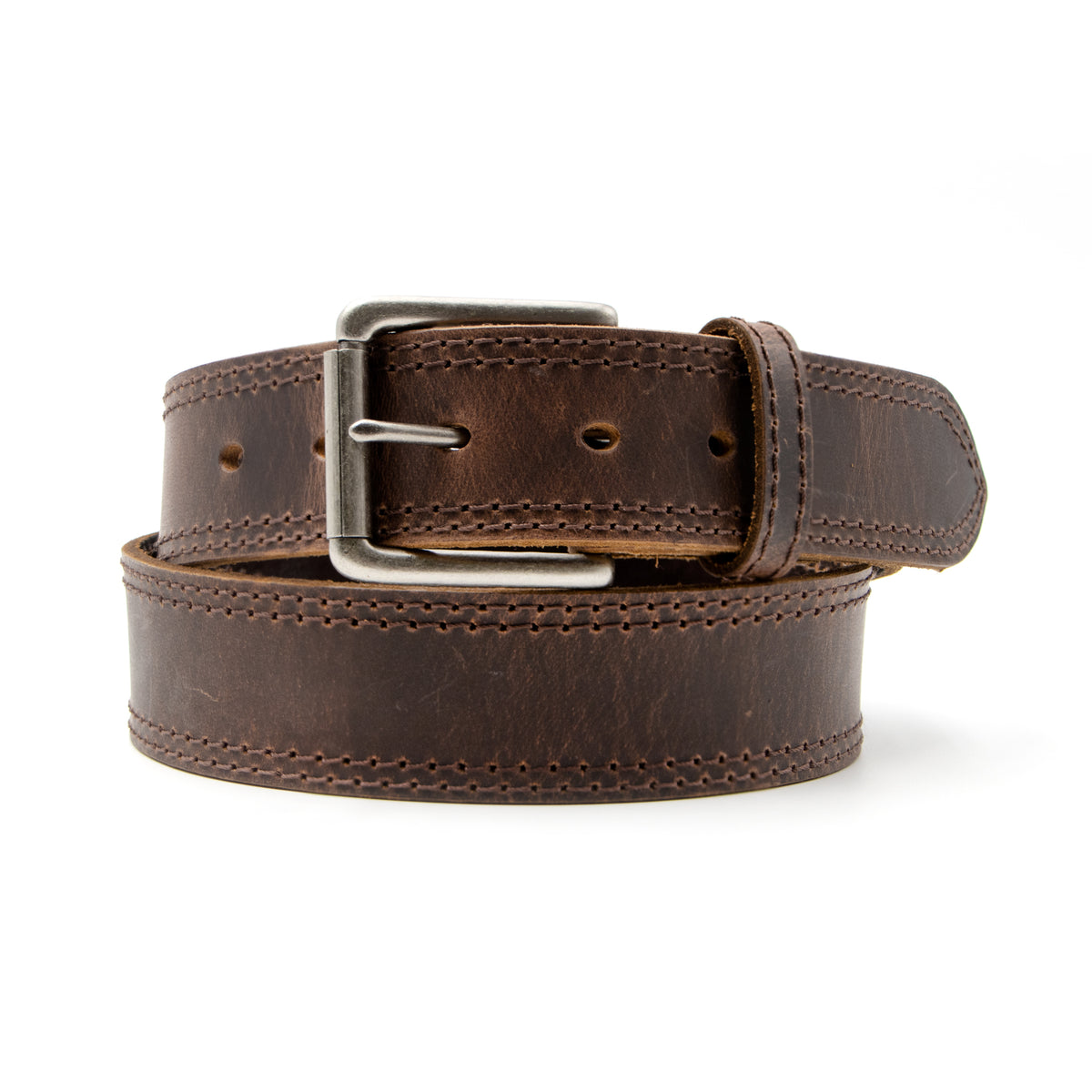 "1 1/2"" Roller Buckle Double Stitch Belt"