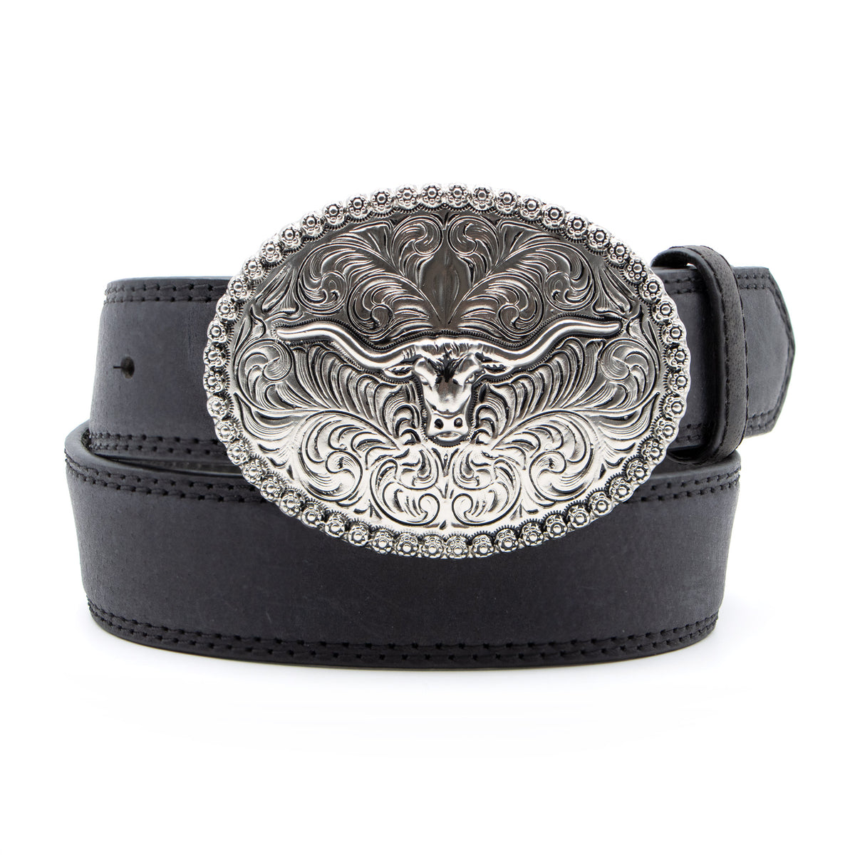 "Kids' 1 1/4"" Scrolled Longhorn Buckle Belt"