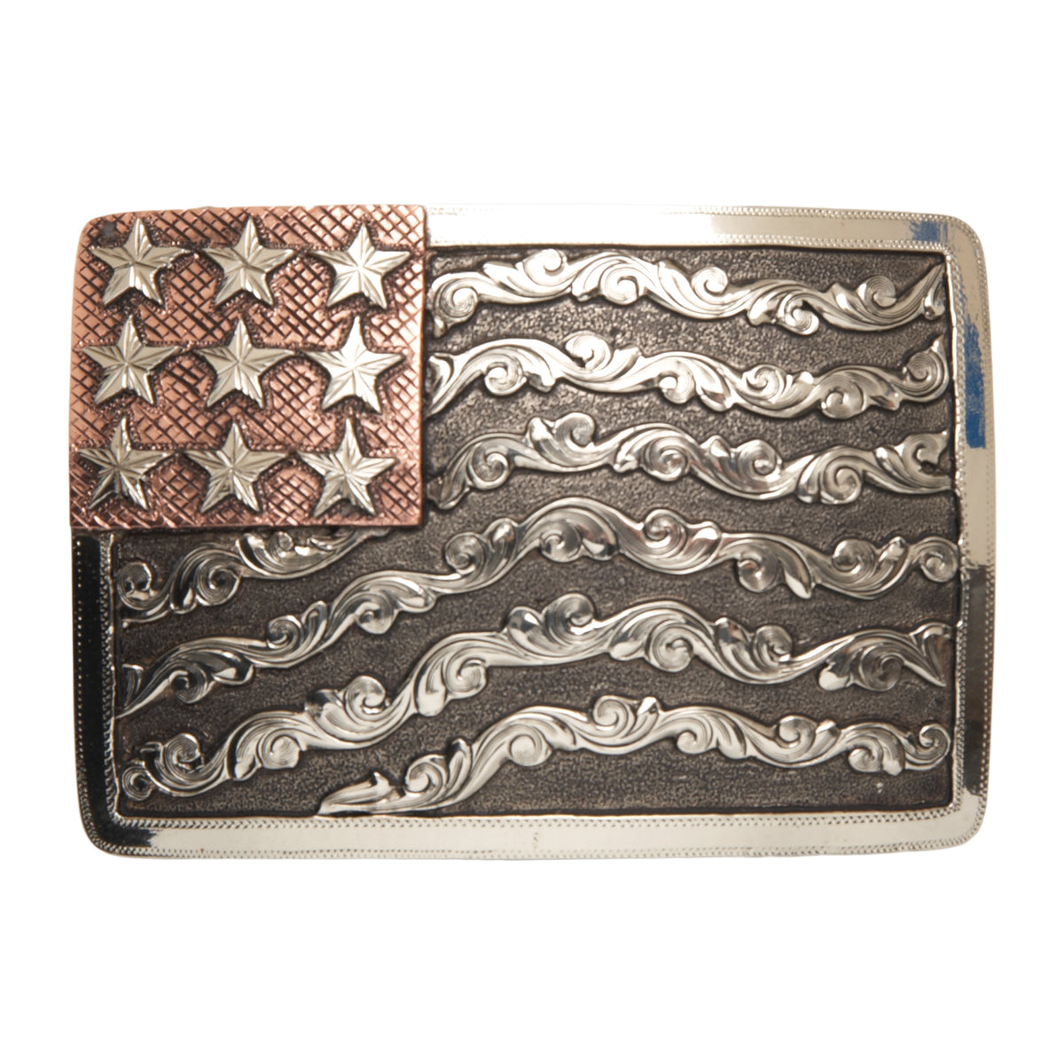 """Denali"" Scrolled Waving American Flag Buckle"