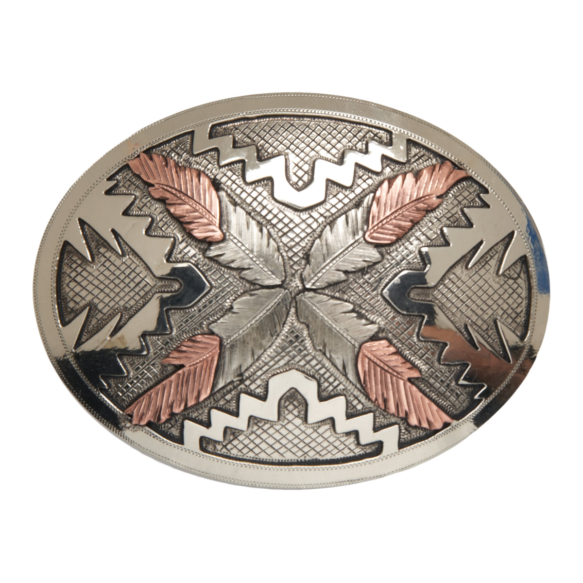 """Saguaro"" Oval with Navajo Feathers Buckle"