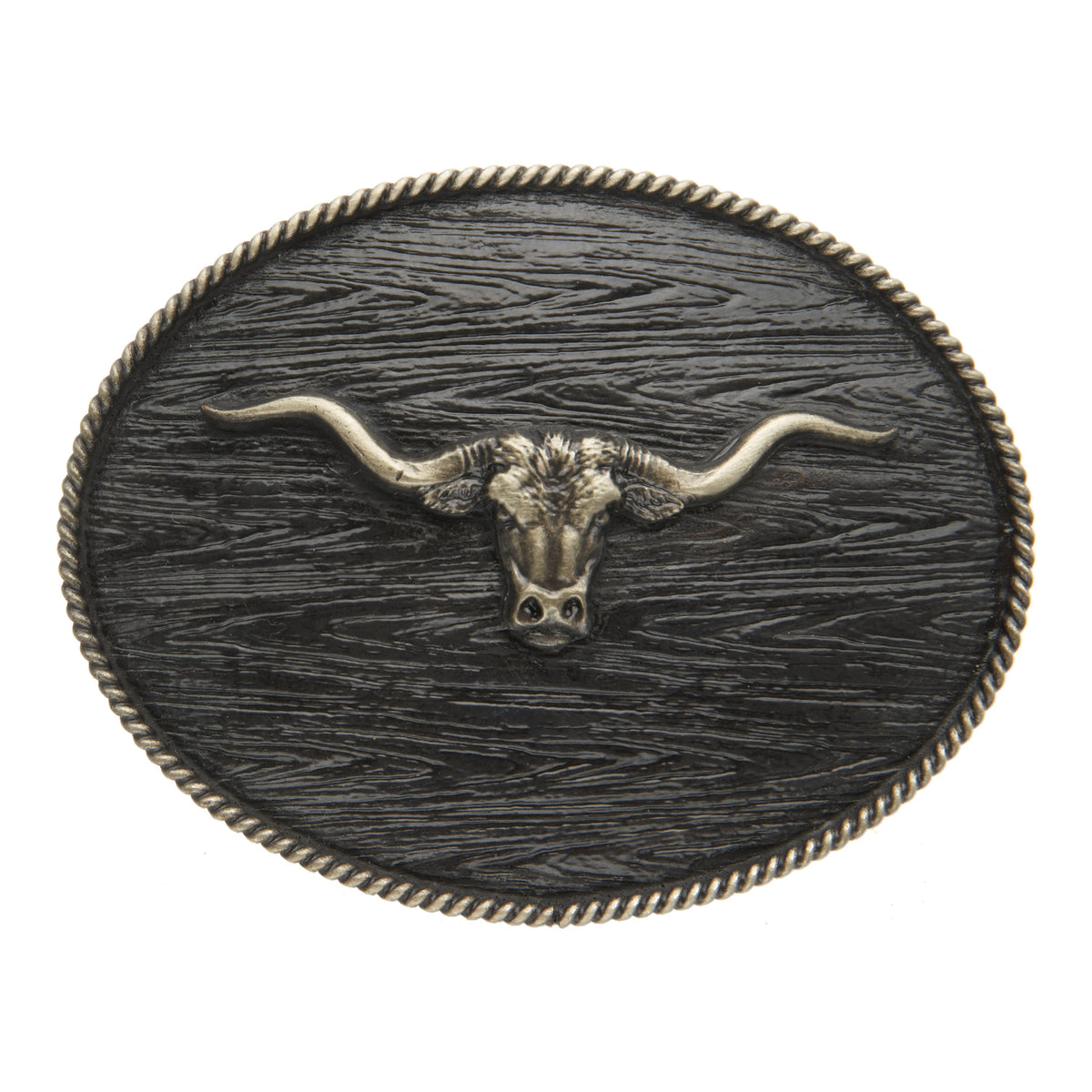 Longhorn with Wood Grain Iconic Classic Buckle