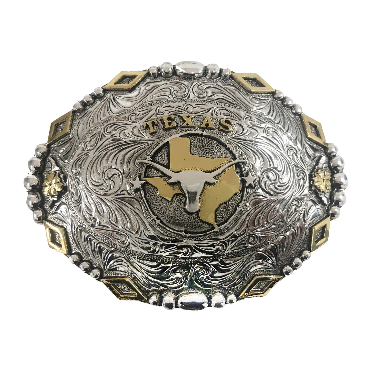 Texas — Diamond Beaded Edge Oval Buckle
