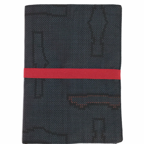 Kimono Journal Navy, Black With Red Band|着物ノート 紺 黒の模様&赤ゴム