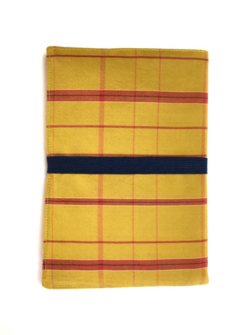 Kimono Journal Yellow-Gold And Red Checked Pattern With Navy Band|着物ノート 黄土色 赤チェック&紺ゴム