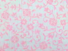 Straight scarf Light Weight Bright Pink Flower Design|ストレートスカーフ 白地にピンクの花柄