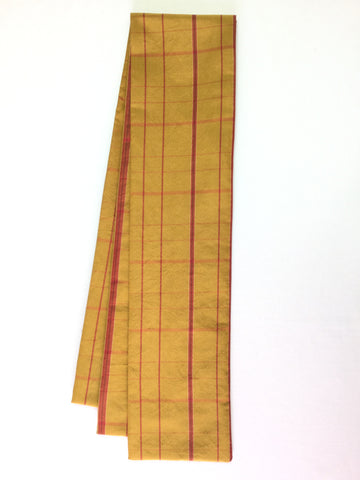 Straight scarf Gold with Red Stripes|ストレートスカーフ 黄土色と赤のチェック 幅細め