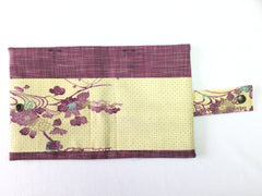 Bible cover Japanese Pink Purplish with Yellow Pocket with Purple Flowers|バイブルカバー日本語 ピンク紫&クリーム色 紫の花2