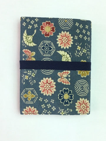 Small Book Cover Blue with Colorful Flowers and Butterflies Blue Band|文庫本カバー 青地 カラフル花と蝶&紺ゴム