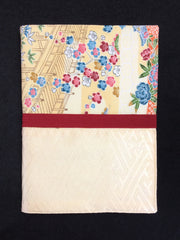 Kimono Journal Old Japanese Garden with Red Band |着物ノート 花と橋&赤ゴム