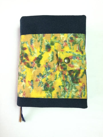 Bible cover bilingual Navy Blue with Yellow Design|バイブルカバー バイリンガル 紺&黄色とオレンジ模様