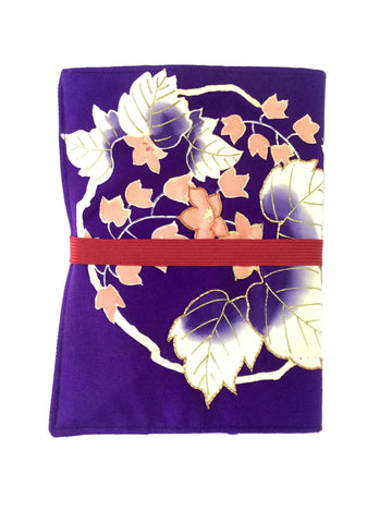 7″×5″ Book Cover Purple& Coral Flowers with Red Band|B6ブックカバー 紫ピンクの花