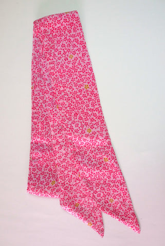 Ribbon Scarf pink with dark flowers|リボンスカーフ ピンク小枝