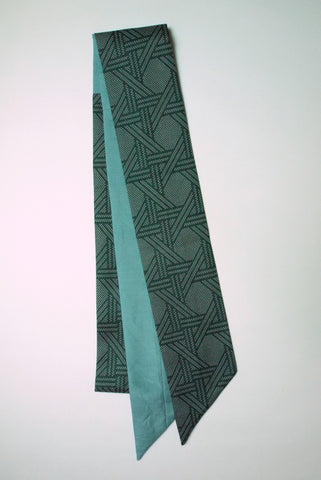 Ribbon Scarf green pattern & light blue|リボンスカーフ 緑模様&水色