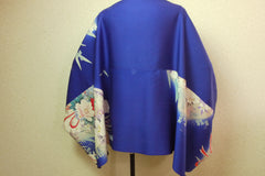 Turtleback blue with flowers|タートルバック 青地 花振袖