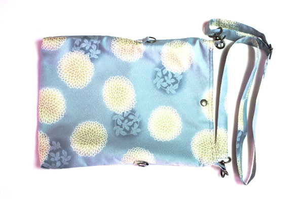 Pale Blue with Light Gold Floral Design Fold over Bag|水色 金色の菊 2wayショルダーバッグ