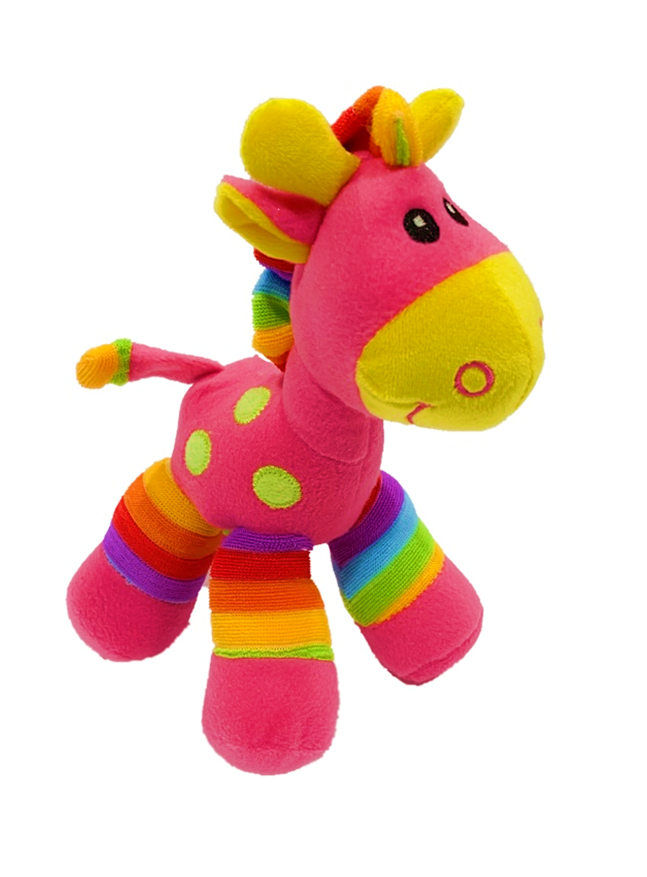 Bright Stripes Plush Rattle Toy Giraffe - Hot Pink (20cmH)
