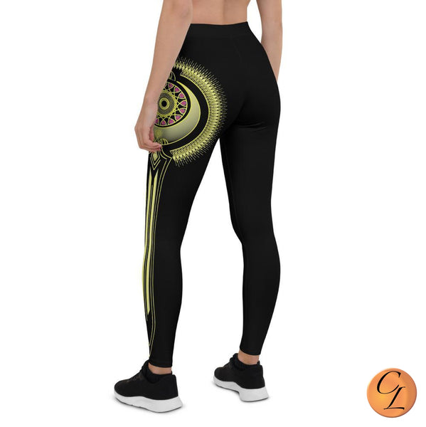 Black and Gold Mandala Leggings-Leggings-Chloe Lambertin