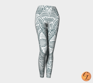 Green Delft Leggings-Leggings-Chloe Lambertin
