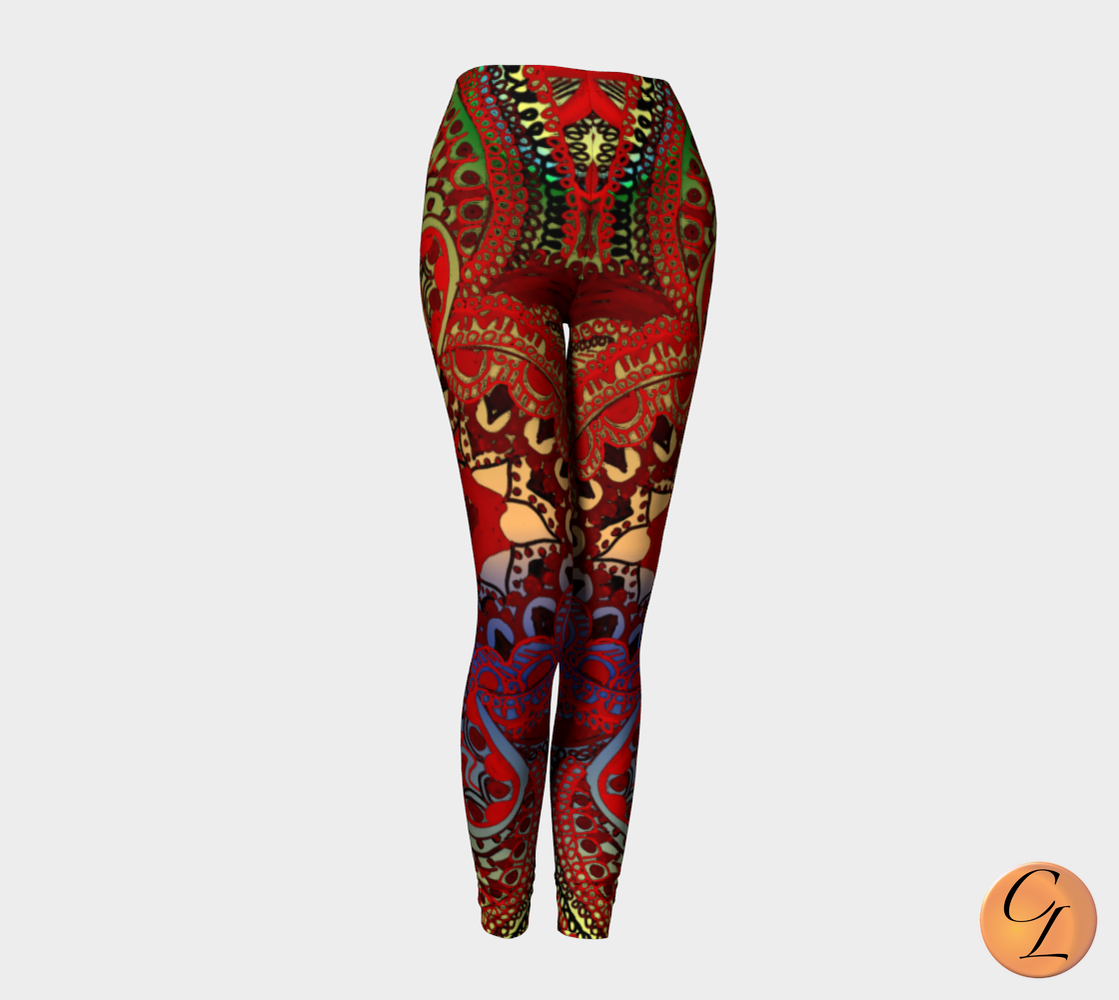 Meditation in Red Leggings-Leggings-Chloe Lambertin