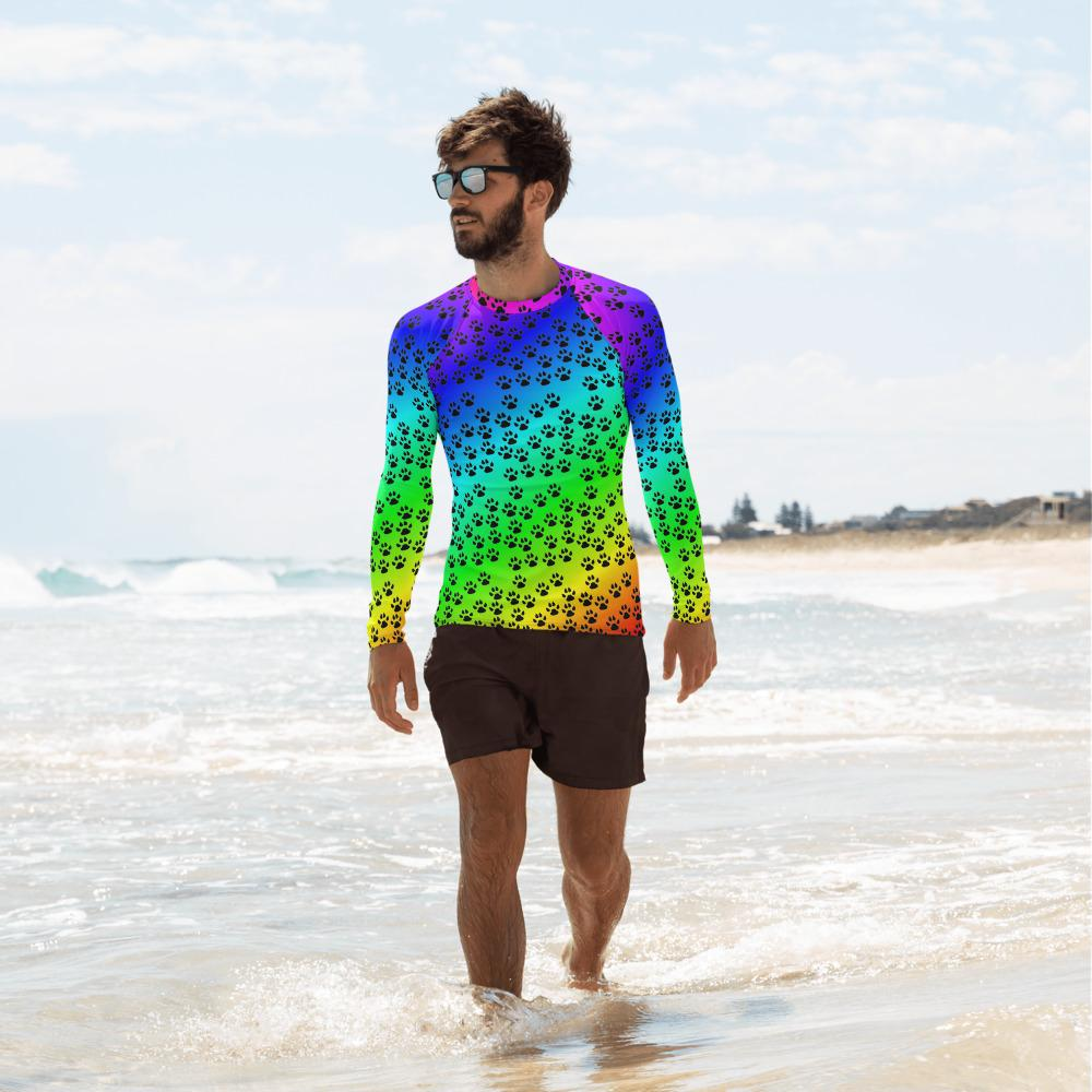 Paw Print Rash Guard Men-Rash Guard-Chloe Lambertin