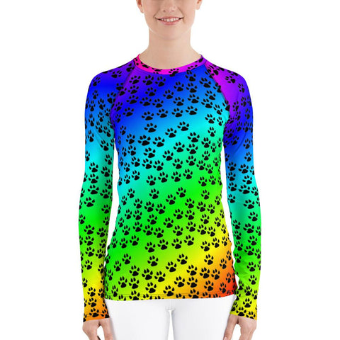 Paw Prints Rash Guard Women-Rash Guard-Chloe Lambertin