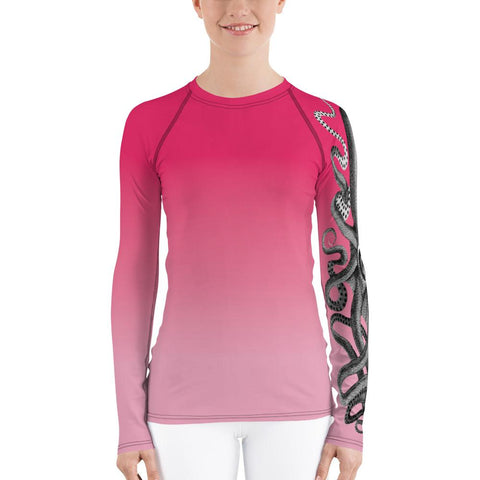 Rose Octopus Rash Guard Women-Rash Guard-Chloe Lambertin
